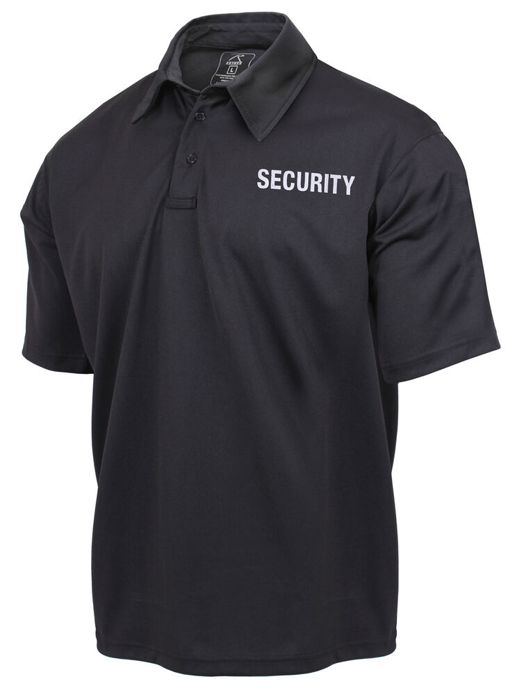 Security guard polo shirt black 2 sided short sleeve for Black golf polo shirt