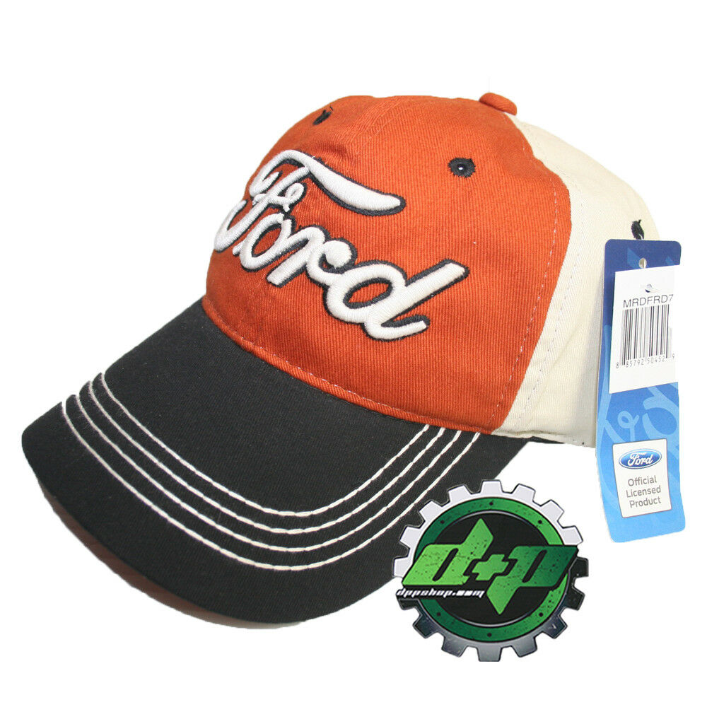 Ford Ball Cap Orange Official Logo Trucker Baseball Truck