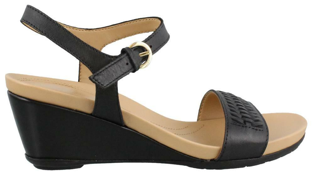 Naturalizer Swiftly Mid Heel Wedge Sandal Leather Womens Sandals Mid Heel  Mid | eBay
