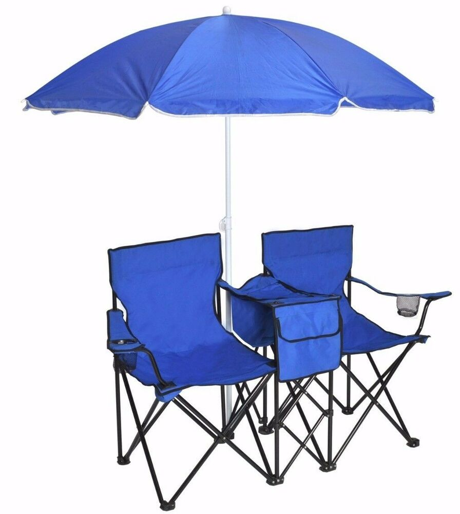 Portable Folding Double Chair w Umbrella Table Cooler Pinic Camping Beach Ch