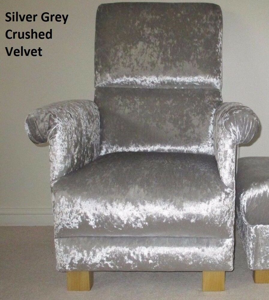 crushed velvet office chair silver grey crushed velvet fabric chair sturdy bespoke 13643 | s l1000