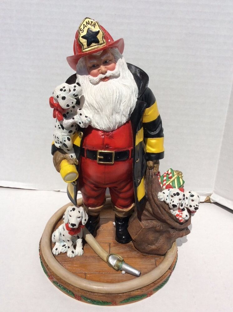 Danbury mint figurine fireman santa and dalmatians quot tall