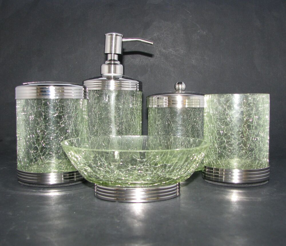 New 5pc set green cracked glass soap dispenser dish for Blue crackle glass bathroom accessories