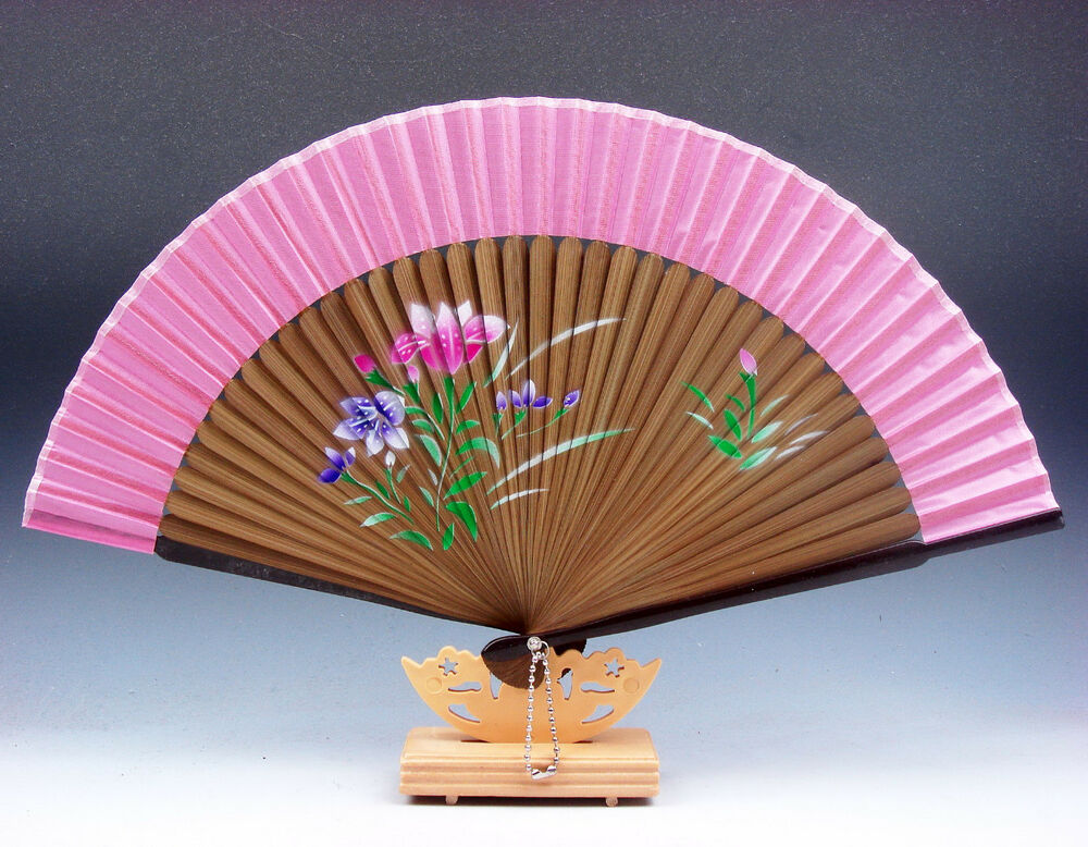 Chinese Fan Stand : Chinese flowers lotus folding fan hand wall decor w