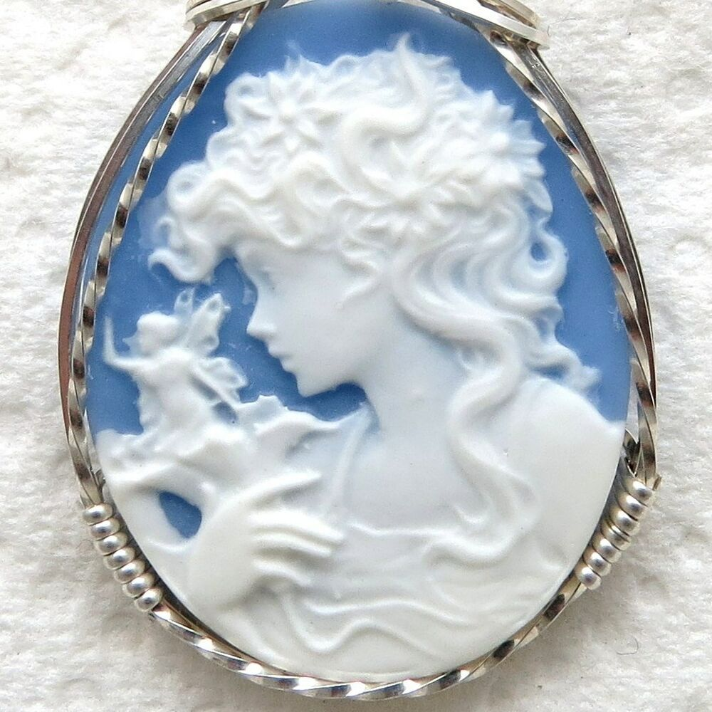 Fairy Faerie Cameo Pendant .925 Sterling Silver Jewelry ...