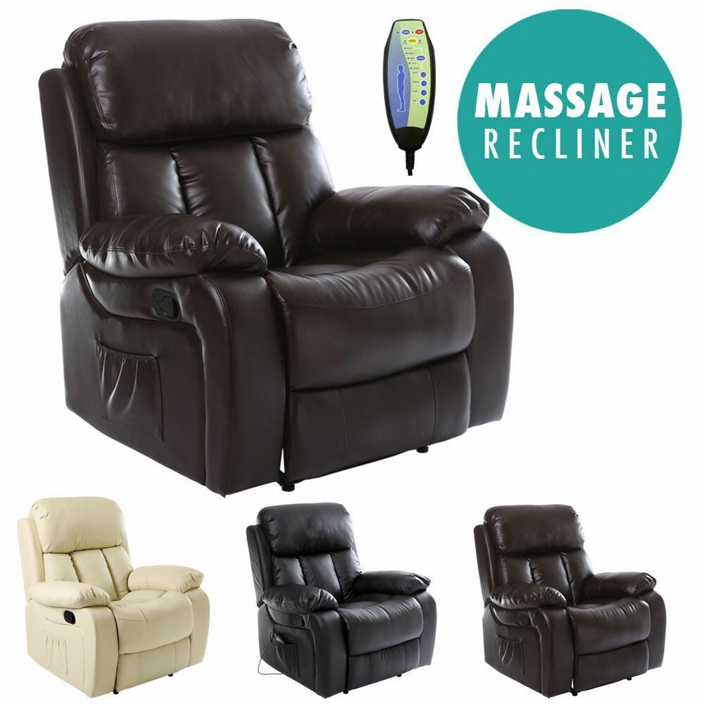 leather lounge armchair chester heated leather massage recliner chair sofa lounge 16659 | s l1000