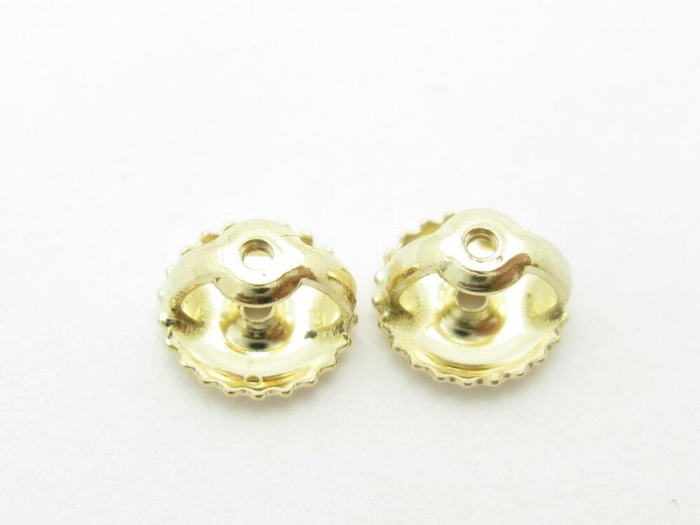 1 Pair Solid 14k Yellow Gold Replacement Screw On Screw