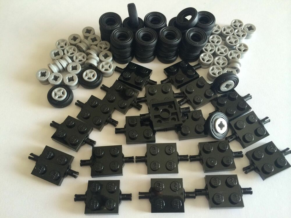 new lego 100 lot car parts wheels tires axles rims 100 pieces small truck ebay. Black Bedroom Furniture Sets. Home Design Ideas