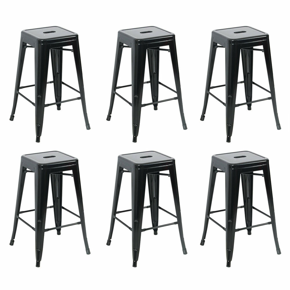 Set Of 6 Metal Steel Bar Stools Vintage Antique Style