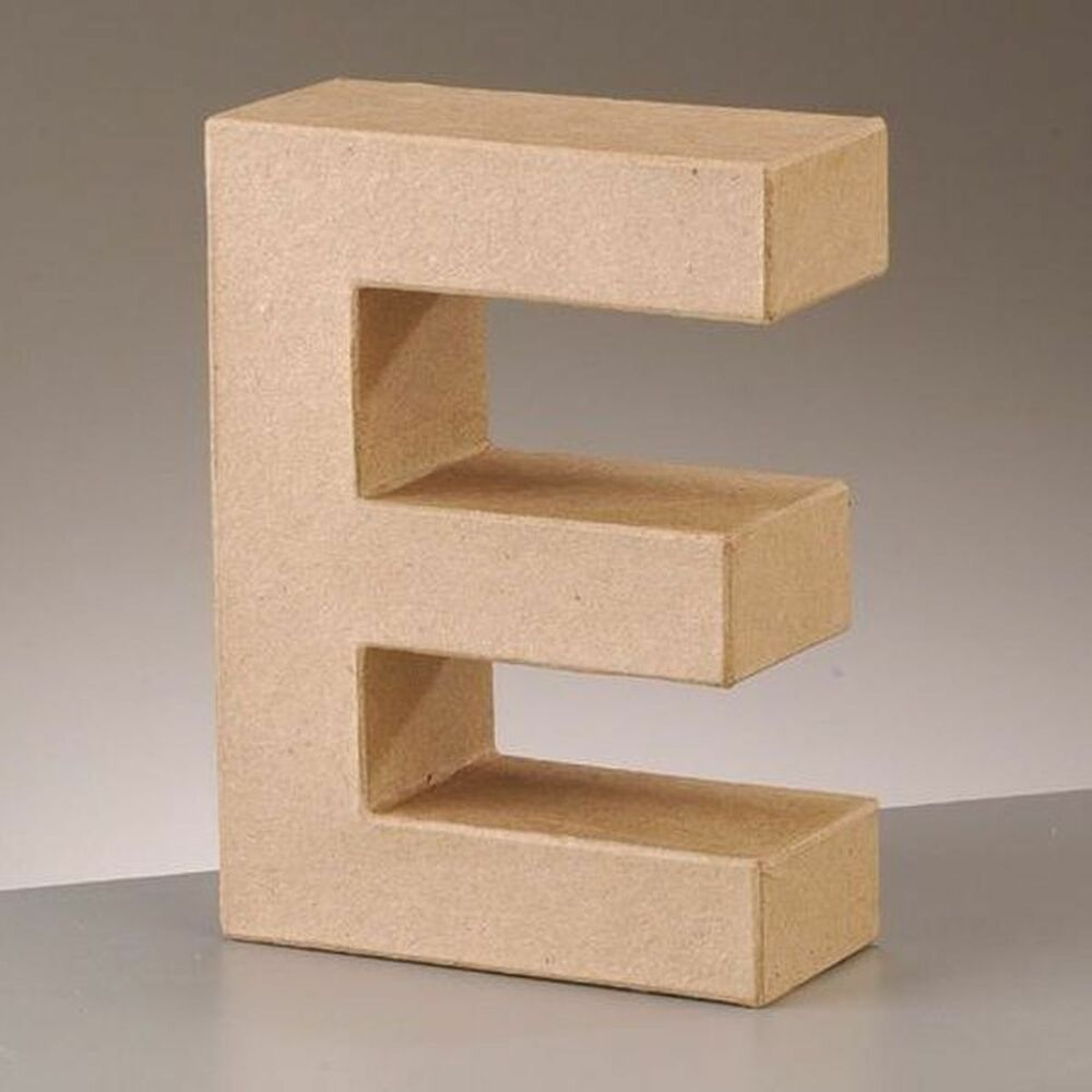 cardboard letter 39 e 39 3d paper mache craft free standing brown buff choose size ebay. Black Bedroom Furniture Sets. Home Design Ideas