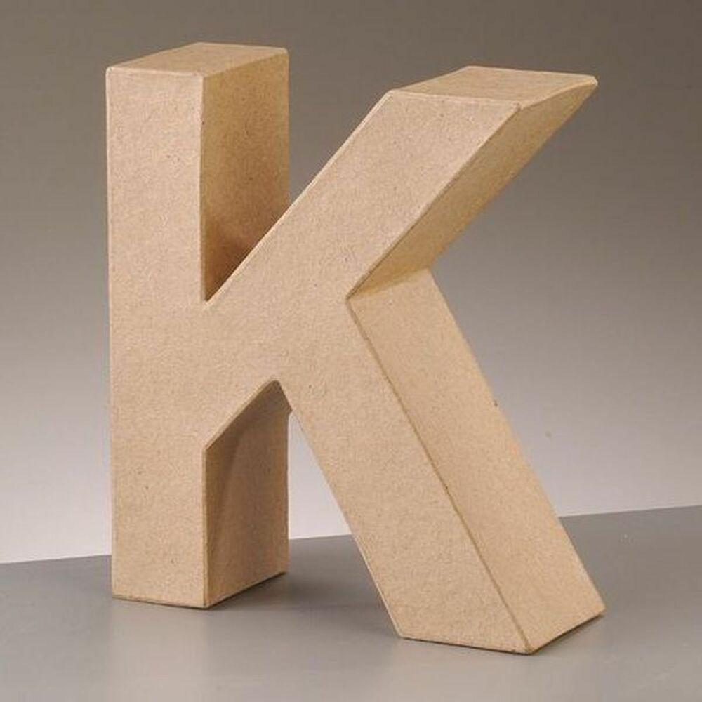 cardboard letter k 3d paper mache craft free standing brown buff choose size