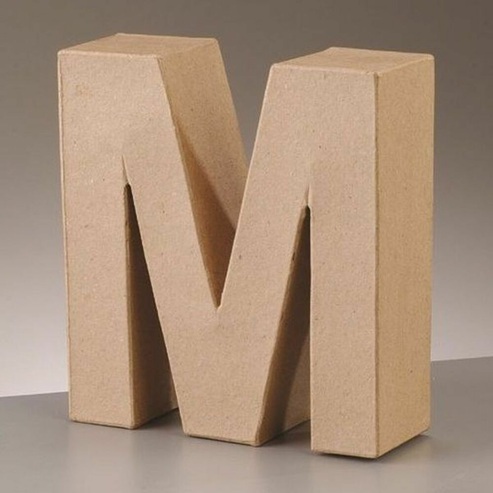 cardboard letter m 3d paper mache craft free standing brown buff choose size