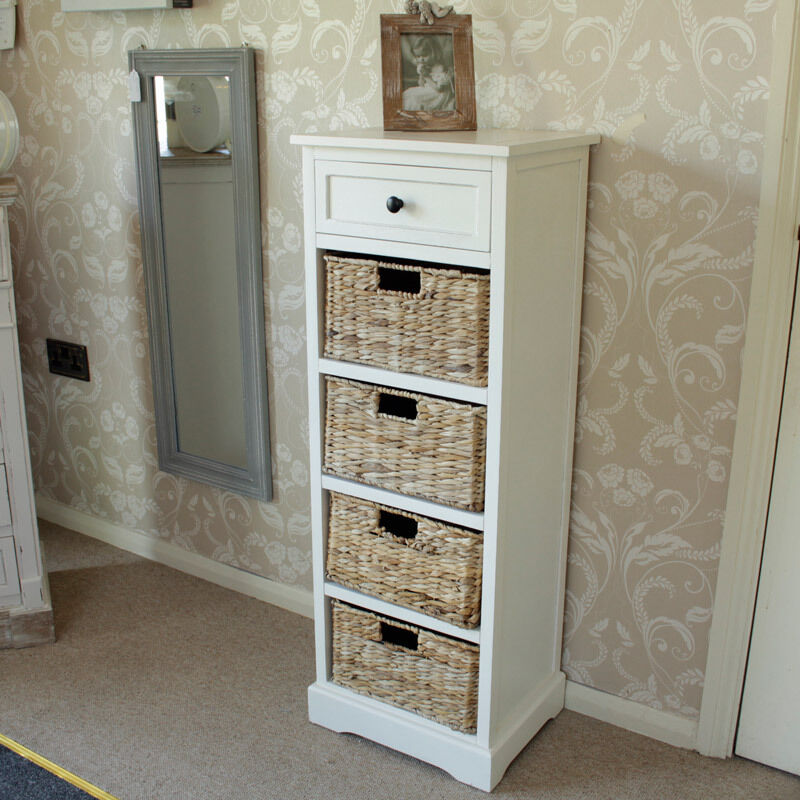 Ivory Wicker Storage Unit One Drawer Four Baskets Bedroom