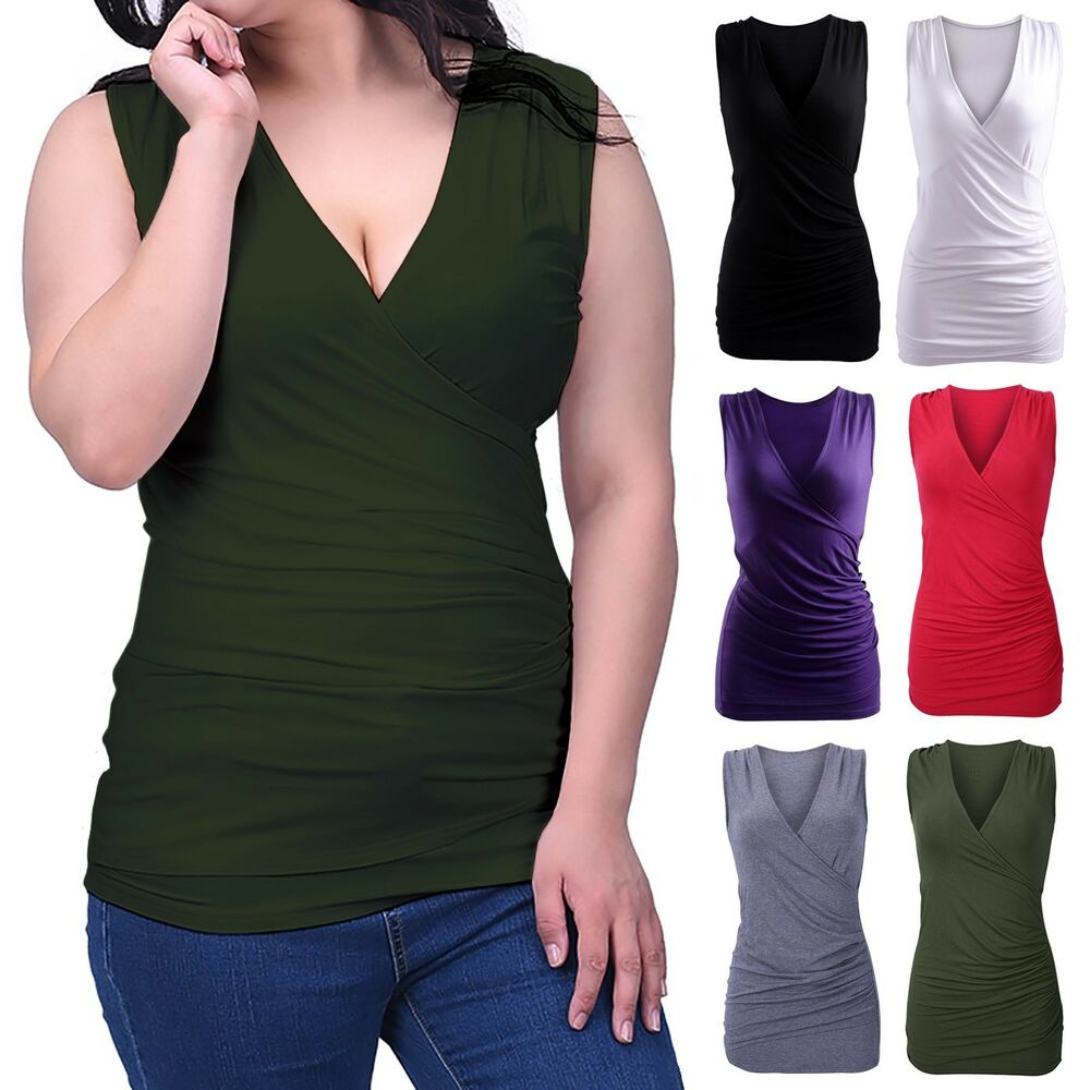 Women's Slimming Tank Top Ruched Side Faux Wrap Tunic V
