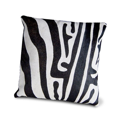 ZEBRA PILLOW COWHIDE LEATHER COVER RUG COW HIDE HAIR ON