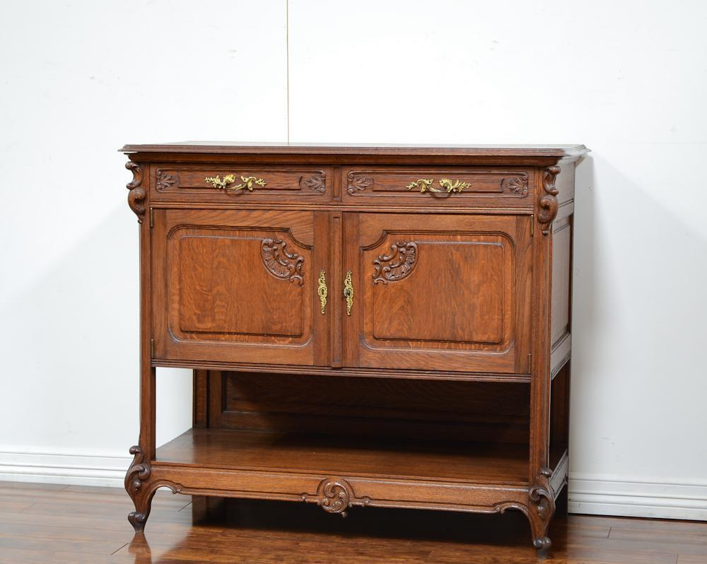 55637-2 : Antique French Oak Louis XV Server Sideboard