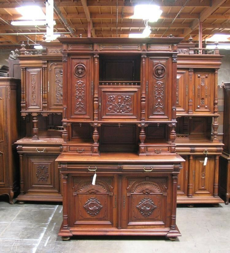 11537 antique carved french renaissance henry ii buffet for Carved kitchen cabinets