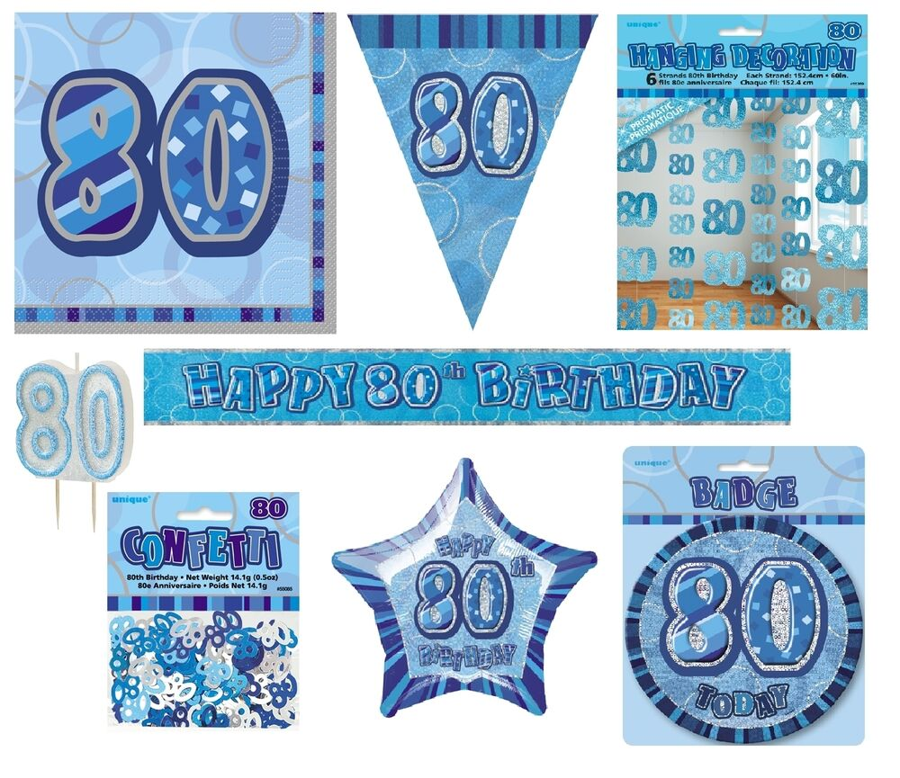 80th birthday age 80 blue party items decorations for 80th birthday party decoration