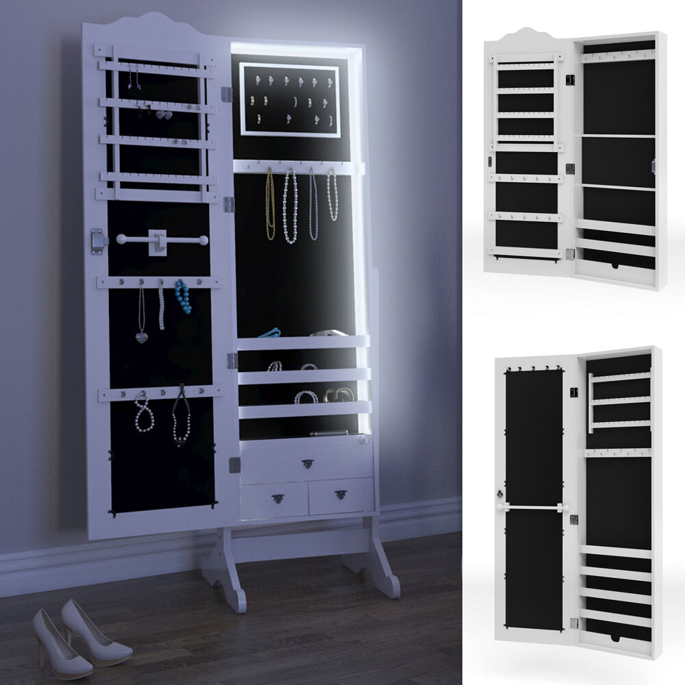 spiegelschrank schmuckschrank standspiegel wei schmuck wandschrank spiegel led ebay. Black Bedroom Furniture Sets. Home Design Ideas