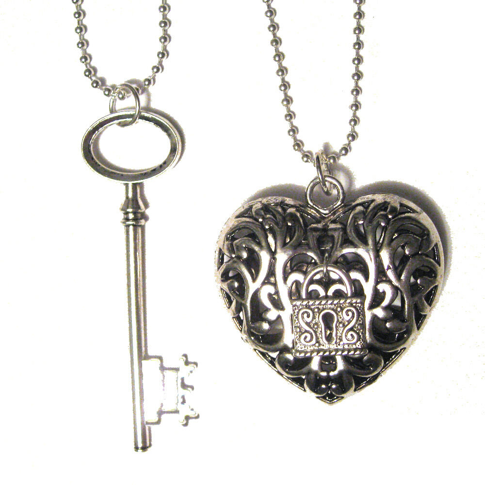 big key and with padlock silver plated charm pendant