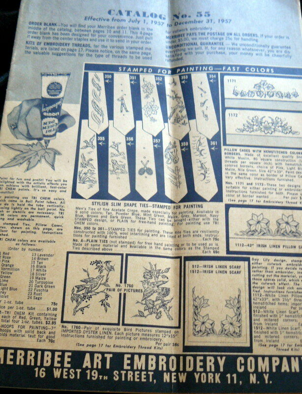 Vtg 1950s stamped linen kits mail order catalog marribee for Free craft catalogs mail