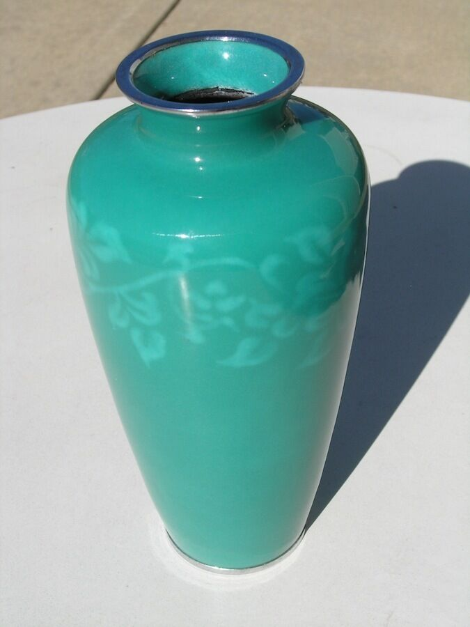 Vintage Japanese Sato Ando Wireless Cloisonne Vase Teal Floral Scrolling 9 5 8 Quot Ebay