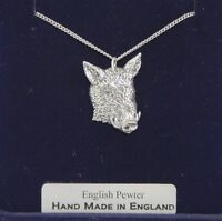 Wild Boar's Head Necklace in Fine English Pewter, Hand Made and Gift Boxed A