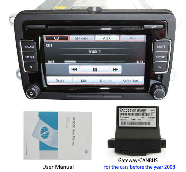 Vw Autoradio Rcd510  Gateway  Canbus Cd Aux Usb Tiguan Polo