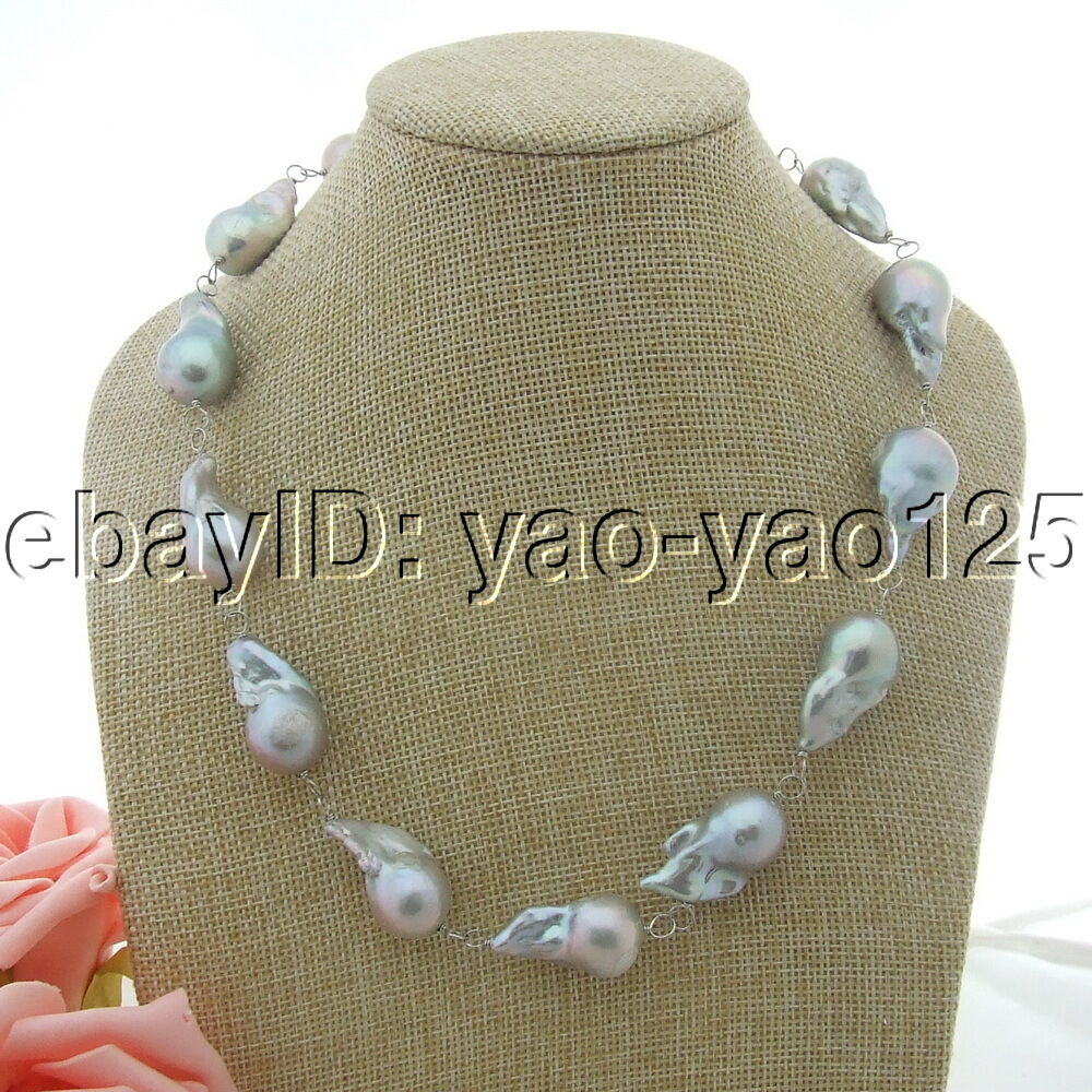 """H031510 19/"""" 25MM Grey Keshi Pearl Necklace"""