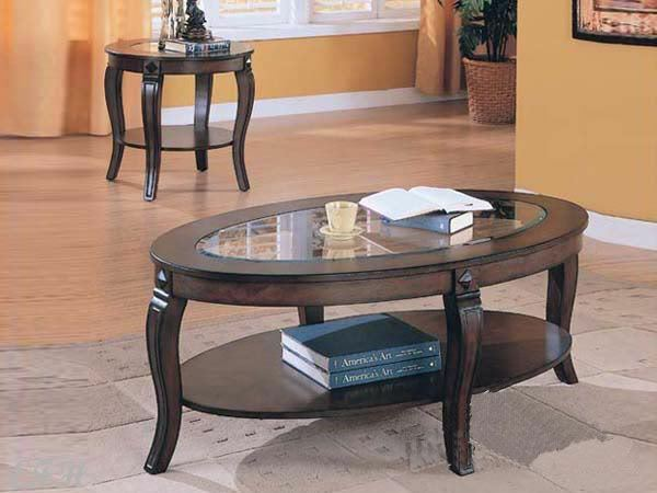 New 2pc Tiverton Glass Walnut Finish Wood Oval Coffee Round End Table Set Ebay