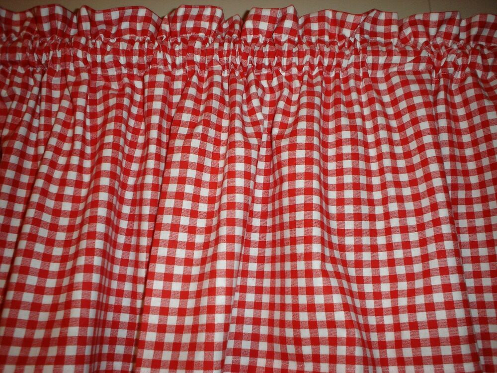 Red White Check Checked Checkered Country Kitchen Window