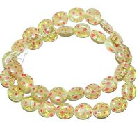 G2990 Golden Olive w White & Red Flowers 12x10mm Oval Millefiori Glass Beads 15""