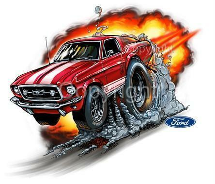 1967 ford mustang gt fastback muscle car cartoon tshirt for Ebay motors mustang gt
