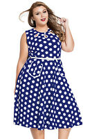Vintage 50s Retro Blue White Polka Dot Cannes Summer Rockabilly Swing Dress