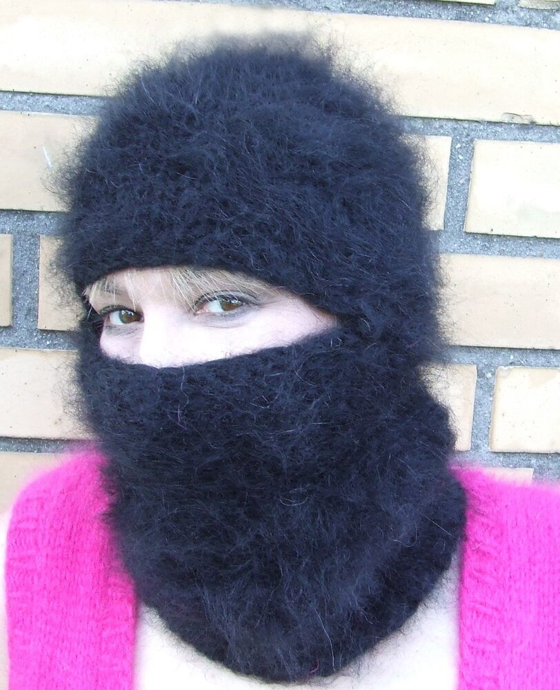 thick fuzzy mohair t neck balaclava black ebay. Black Bedroom Furniture Sets. Home Design Ideas