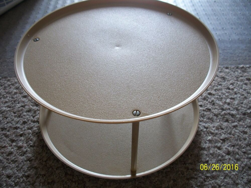 Vintage loma 2 tiered lazy susan turntable spice rack cabinet space saver ebay - Spice rack for lazy susan cabinet ...