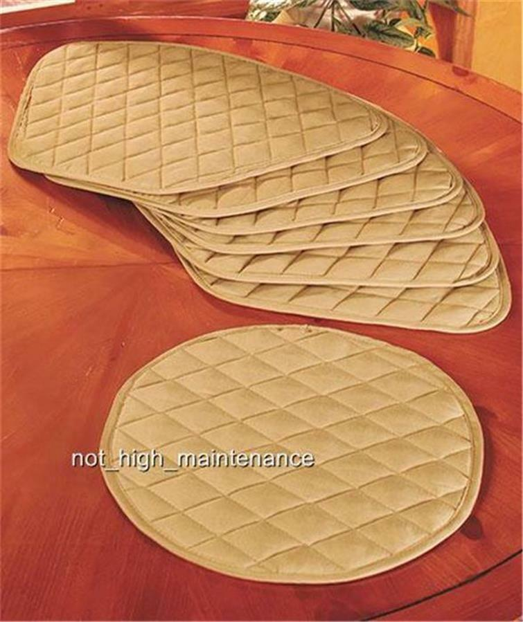 7 piece beige round dining kitchen table wedge shaped for Quilted kitchen set