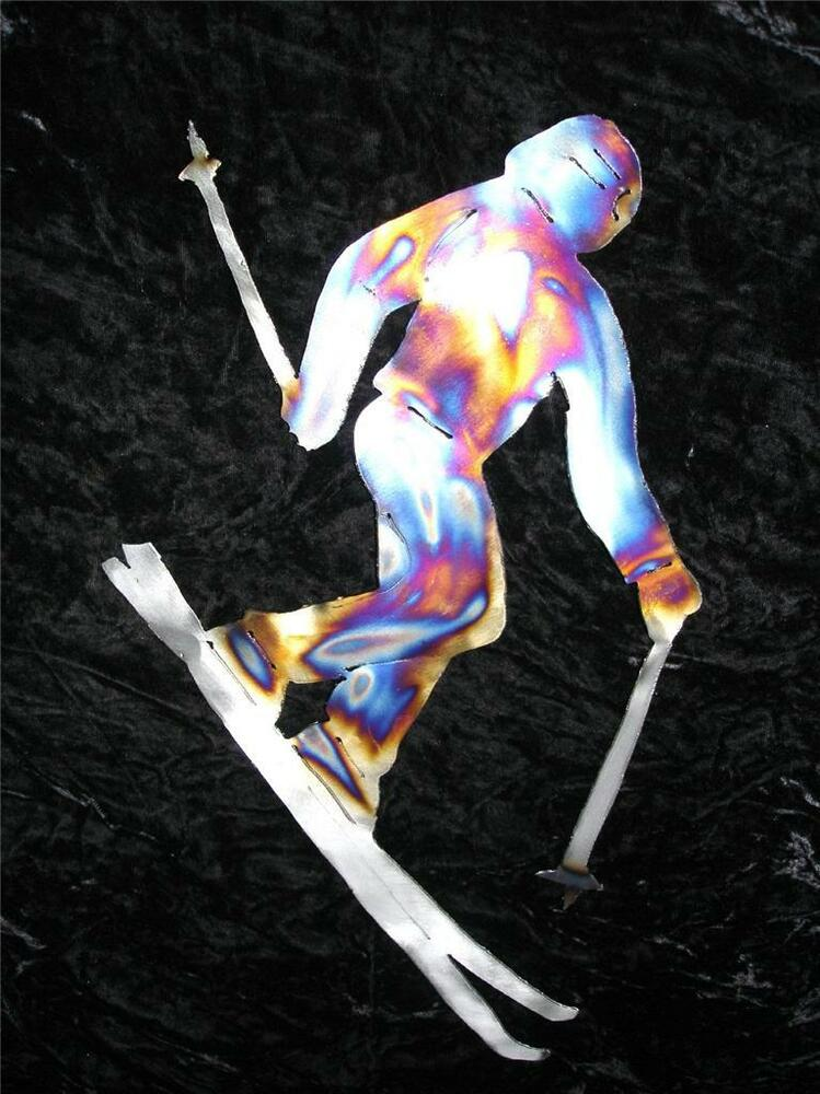 Skier skiing ski home metal wall art decor lodge snow for Ski decorations for home
