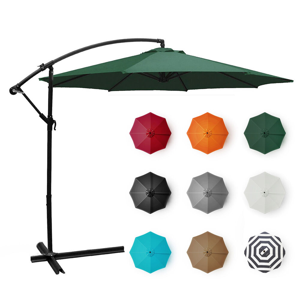 Deluxe Patio 10 Hanging Umbrella Off Set Outdoor Parasol