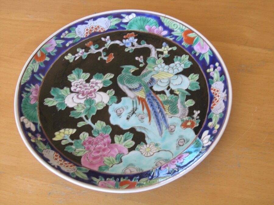 Antique Hand Painted Nippon Enamel Paint Plate Wall Hanger