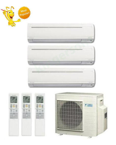 9k 12k 18k btu daikin tri zone ductless wall mount heat pump air conditioner ebay. Black Bedroom Furniture Sets. Home Design Ideas