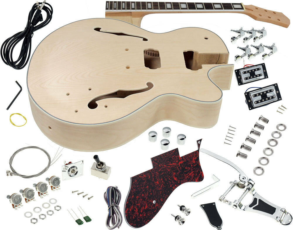 solo gf style diy guitar kit maple hollow body rosewood fb vintage tremolo ebay. Black Bedroom Furniture Sets. Home Design Ideas