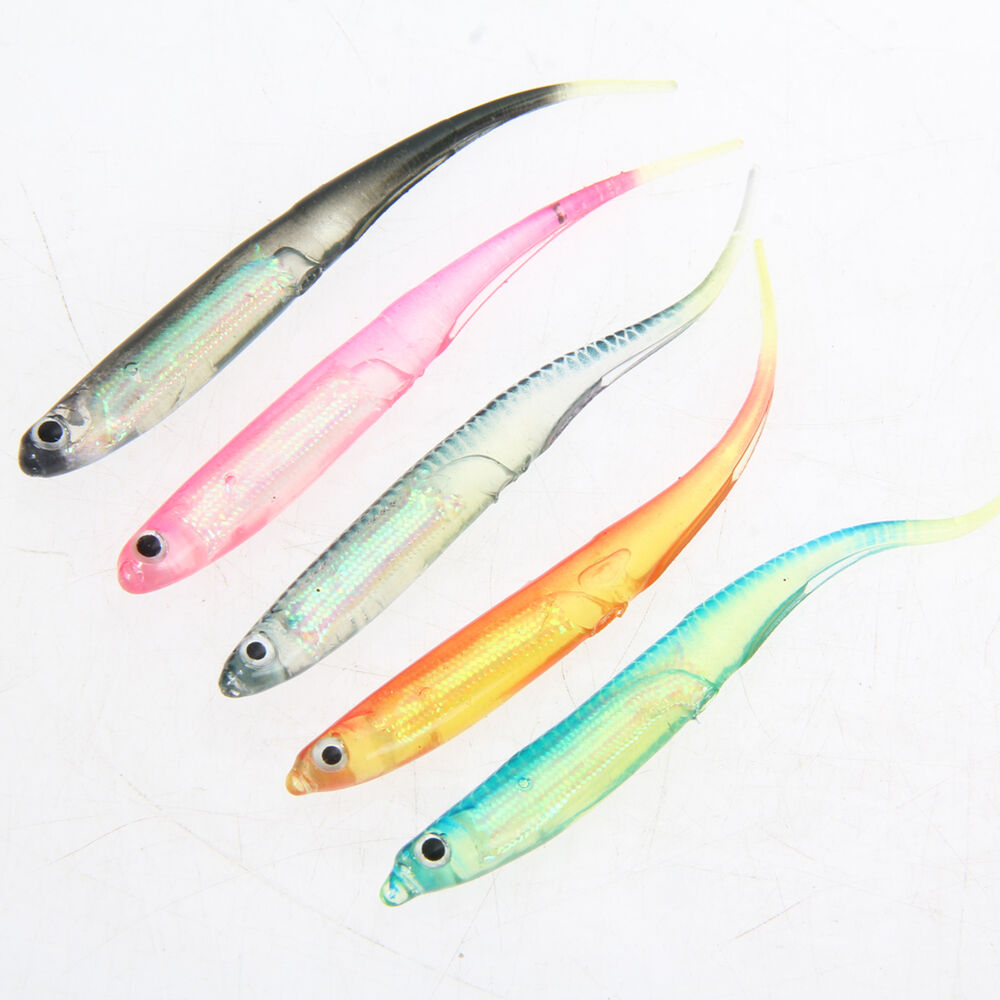 5pcs 95mm soft lure fly fishing shad worm swimbaits jig for Fly fishing lures