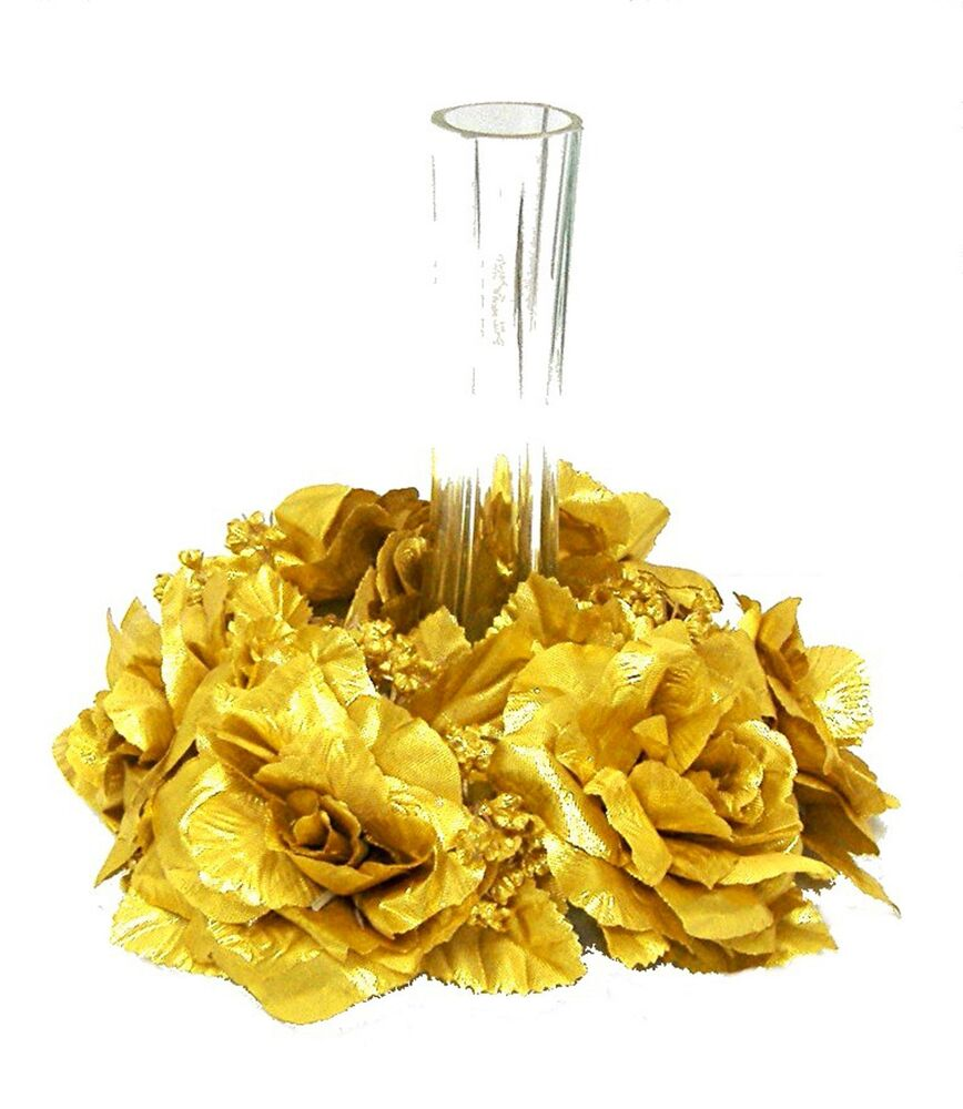 Candle Rings GOLD Silk Wedding Flowers Centerpieces Roses 50th Anniversary