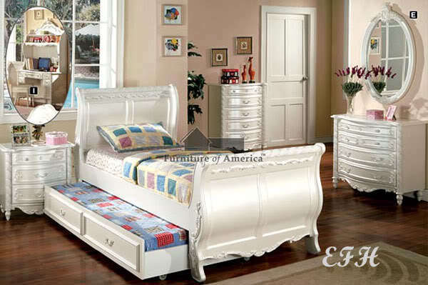 New 5pc Elegant Alexandra Girls Pearl White Twin Or Full Size Bedroom Set Ebay