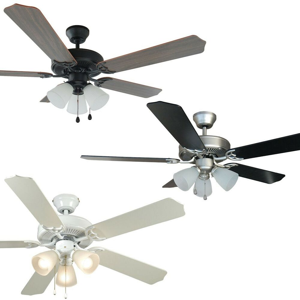 52 inch ceiling fan with light kit satin nickel oil rubbed bronze or white ebay. Black Bedroom Furniture Sets. Home Design Ideas