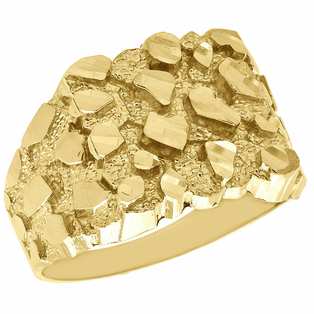 real 10k yellow gold men 39 s nugget style pinky ring custom. Black Bedroom Furniture Sets. Home Design Ideas
