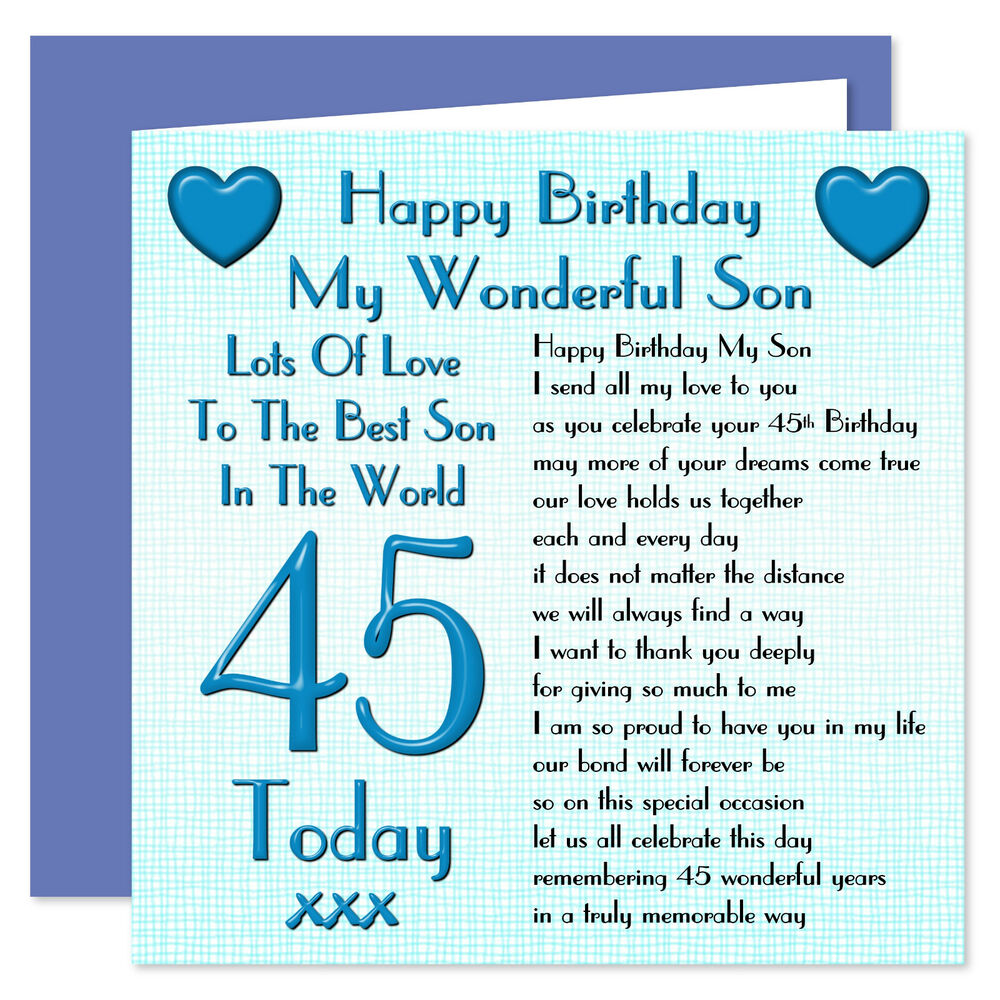 Details About My Wonderful Son Lots Of Love Happy Birthday Card