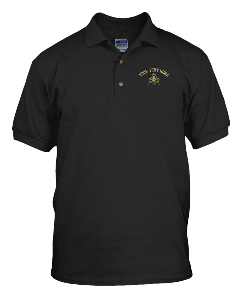 Your text here custom mason embroidery embroidered unisex for Custom golf polo shirts