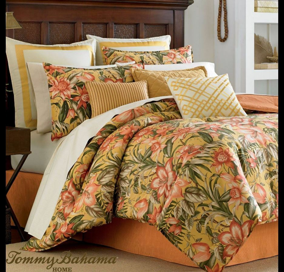 Tommy Bahama Tropical Lily 7pc King Comforter Set With